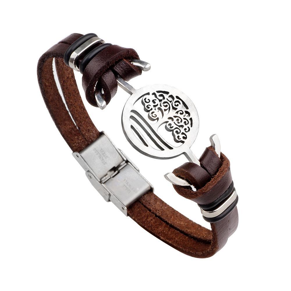 Retro Men Leather Tree Of Life Anchor Bracelet Bangles Wristband Belt Handmade Vintage Bracelets Genuine Leather Stainless Steel Bracelets