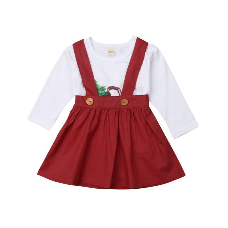 4843c2686 Compre Conjunto De Ropa Infantil Para Niñas Conjunto De Navidad Para Niños  Ropa Para Niñas Árbol De Navidad Estampado De Manga Larga Tops Faldas  Vestidos ...