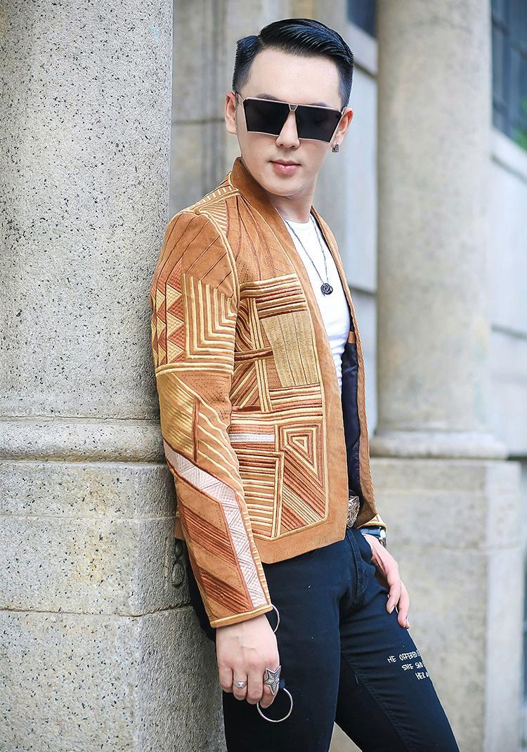 S-2XL !!! Modische Goldfäden geometrischen em Die neue Mode-Trend-Club hat einen Herbst / Winter Freizeitanzug bestickt Mantel
