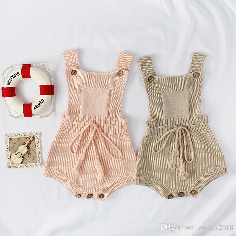 f3066a50afa4 2019 2018 New Arrival Baby Girls Knitted Romper Autumn Cotton Bow Babys  Jumpsuit Toddler Playsuits 0 2 Years From Wenxin2018
