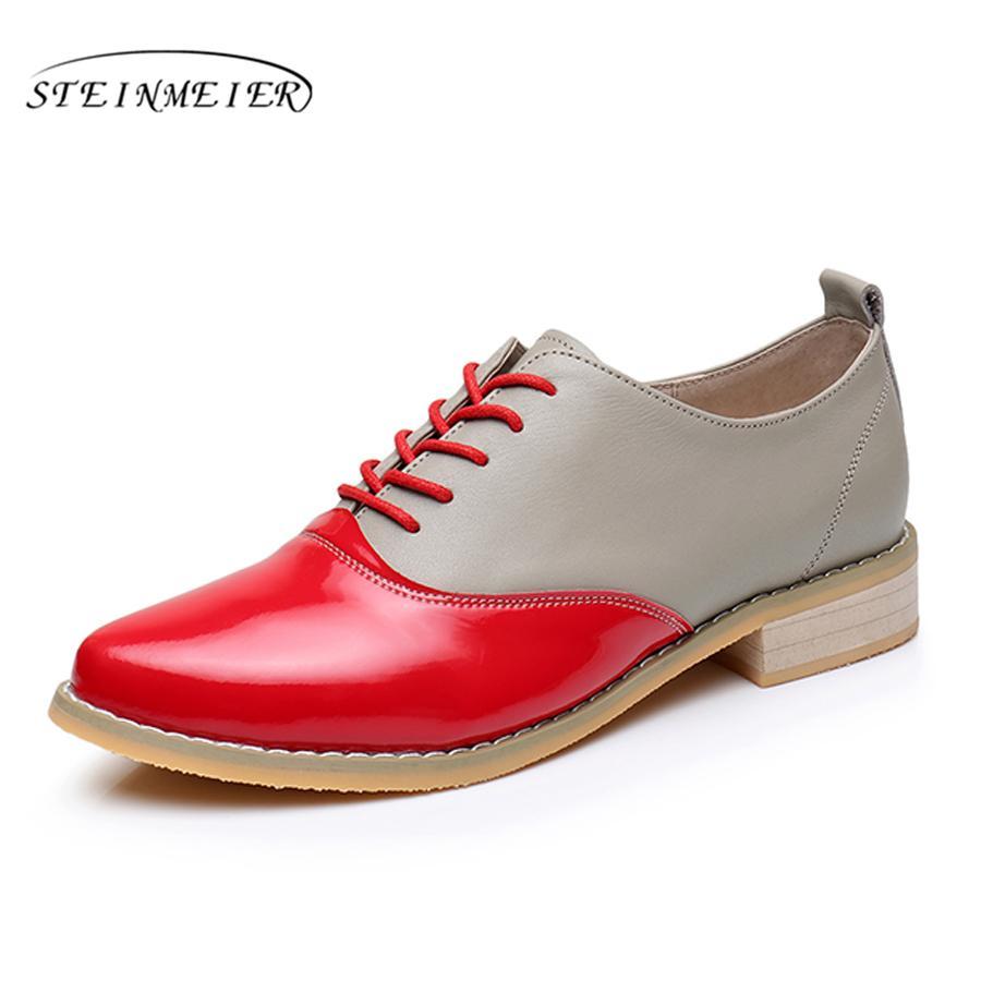 7aab51de8 Compre 2017 Mulher De Couro Genuíno Tamanho Grande EUA 9.5 Ponto Toe Flats  Oxford Sapatos Vintage Handmade Amarelo Vermelho Cinza Oxford Sapatos Para  As ...