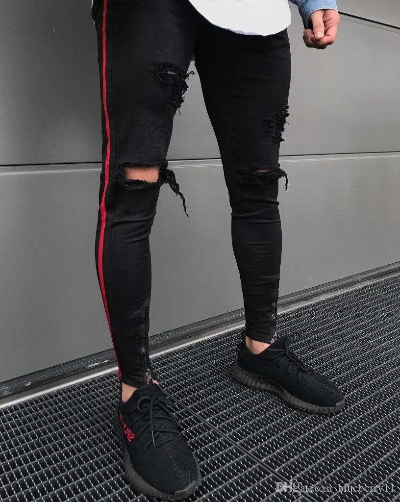 6bd73f0291888 2018 New Arrived Männer Seite Red Stripe Biker Jeans Denim Zerrissene  Löcher Schlank Abendessen Dünne Hip Hop Jeans Männer