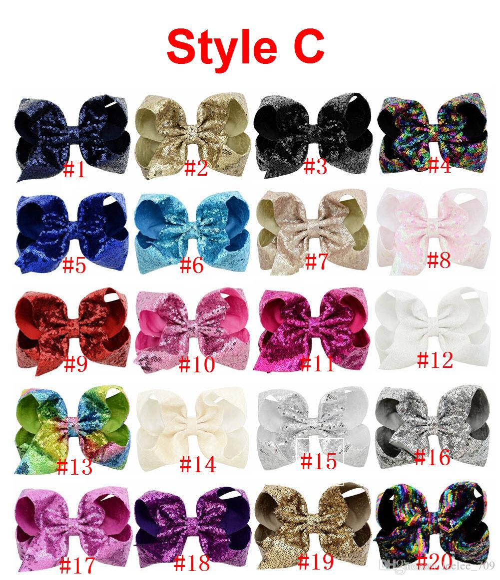 Arco di capelli con strass 8 pollici JOJO con clip bambini scuola bambini pastello 10 stile
