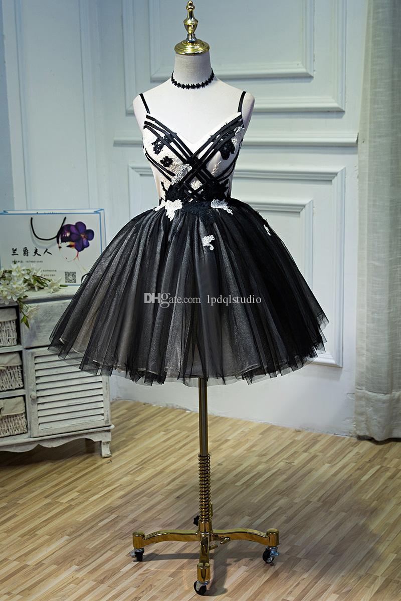 Sexy Noir Robes De Bal D'été Robes De Fête Courte Spaghetti Lace-up avec Zipper Retour Courte Robe De Fête 2018