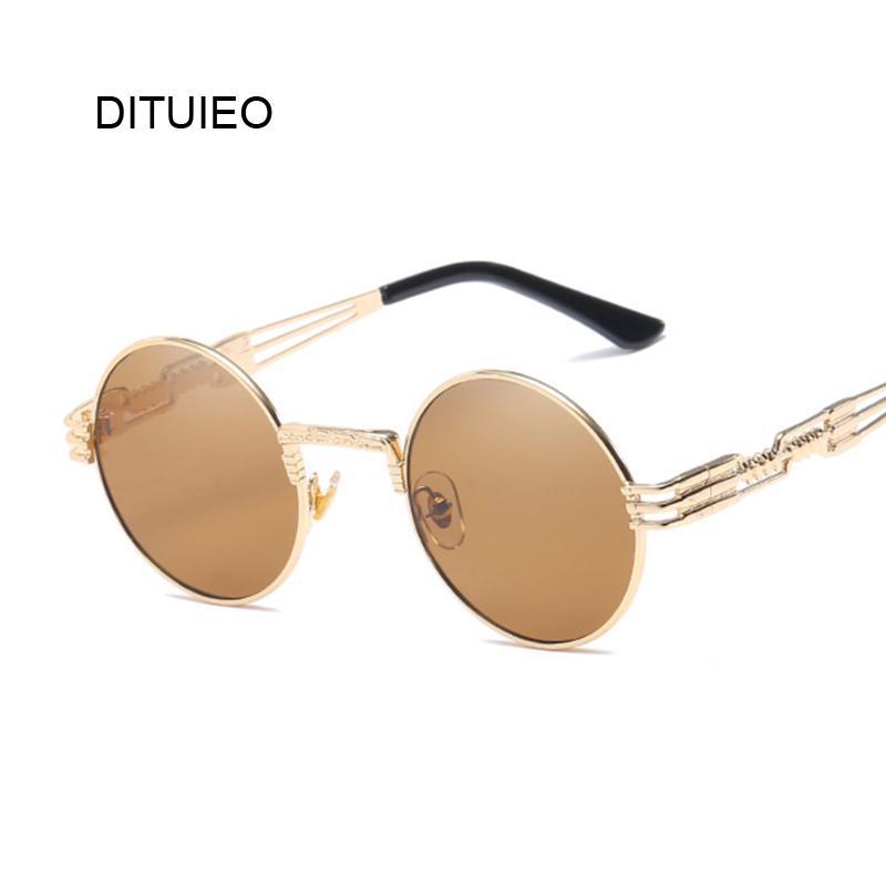 ad7adfbdb65 Metal Round Steampunk Sunglasses Men Women Fashion Glasses Brand ...