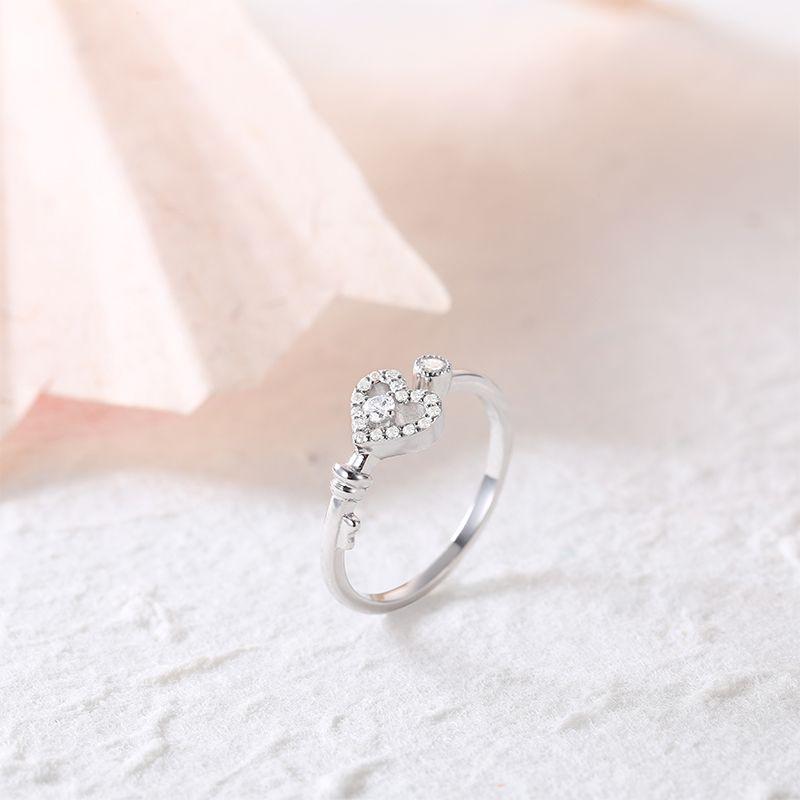 Hohe Qualität Exquisite 925 Sterling Silber Schmuck Schlüsselanhänger Phantasie herz liebe silber ring Für Frauen 06
