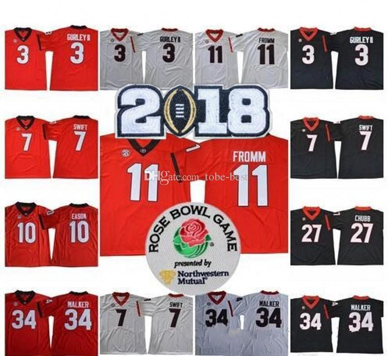 2019 NCAA Georgia Bulldogs  1 Justin Fields 11 Jake Fromm 3 Todd Gurley 7  DAndre Swift 27 Nick Chubb 2018 Championship UGA Jersey From Tobe Best c96657da2