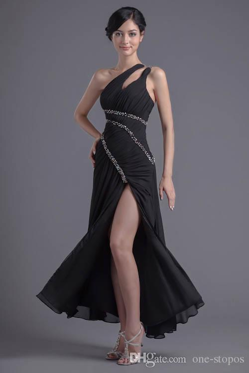 Sexy One-shoulder A-line Chiffon Prom Dresses High Split Pleats Ruched Evening Party Gowns Sequins Beading Bridesmaid Dress Black ZPT019