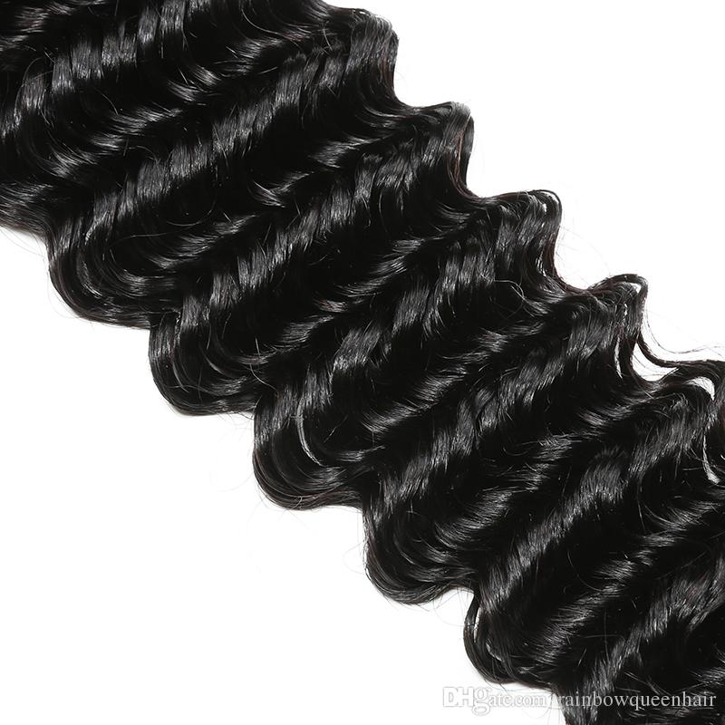 8A Grade Cheap Brazilian Deep Wave Human Hair Bundle Kinky Curly Weave Weft Peruvian Malaysian Indian Virgin Hair Deep Curly Hair Extensions