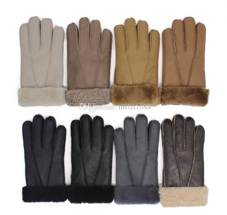 Классические мужские новые 100% кожаные перчатки высокого качества шерстяные перчатки в нескольких цветах бесплатная доставка