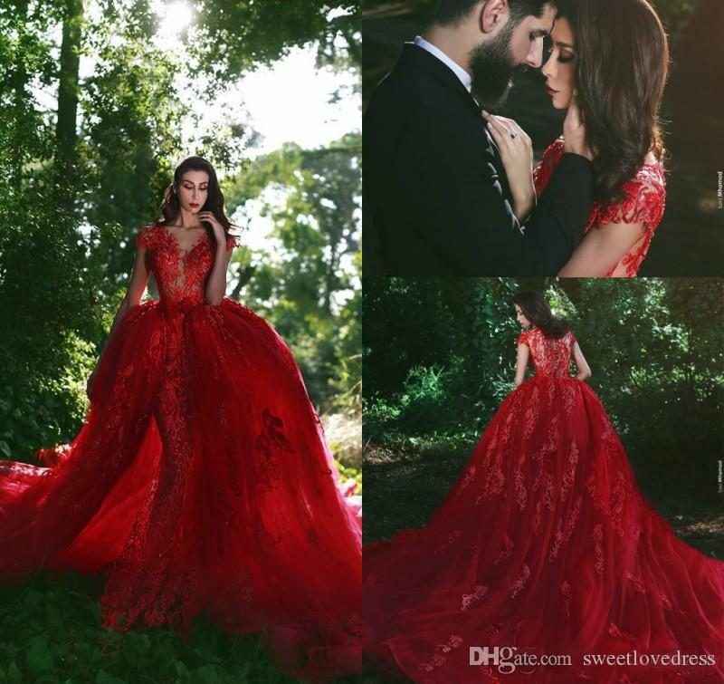 2018 Charming Red Arabic Dubai Evening Dress With Overskirt Sheer Neck Applique Celebrity Pageant Formal Holiday Wear Prom Party Gown Custom