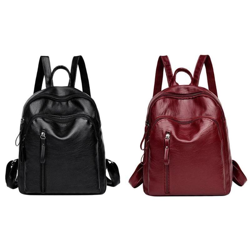 7e747a191201 Zipper Women PU Leather Backpacks Fashion School Bags for Teenager ...