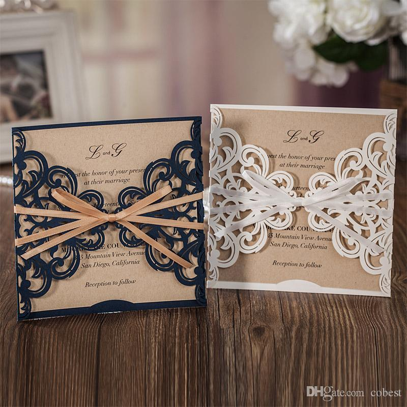 Laser Cut Wedding Invitations Cards Personalized Navy