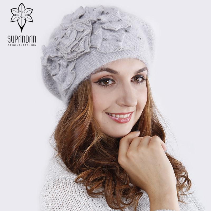 2019 Supandan Fashion Winter Knitted Hats Handmade Beret Hat For Women  Flower Knitted Ear Protect Casual Cap Gorras Mujer V1609 From Playnice 9aede682bad8
