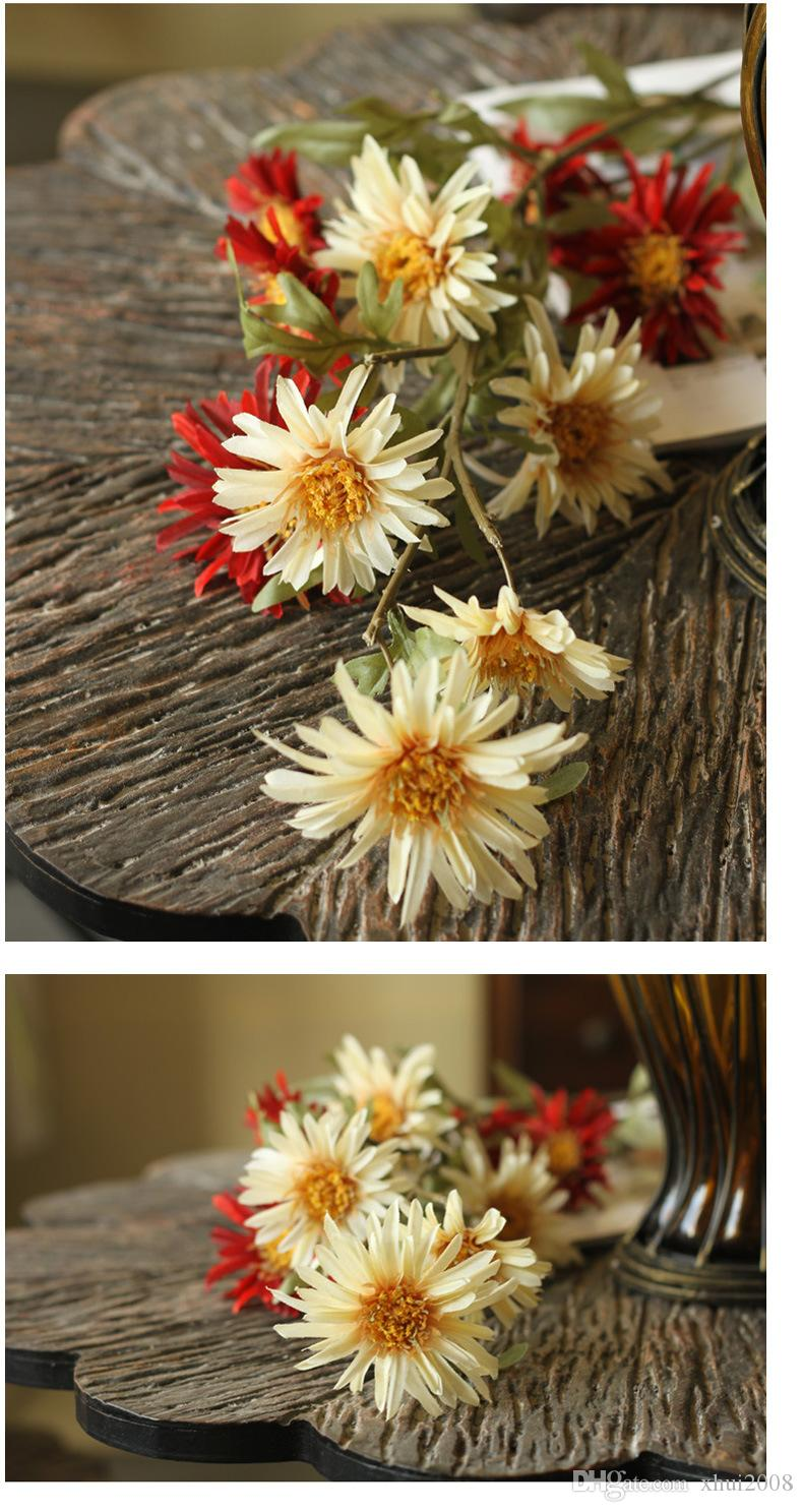 Home Decorative Flower Yellow And Red Daisy Artificial Flower Beautiful Display Flower For Living Room Bouquet Silk Cloth Plastic Box Packag