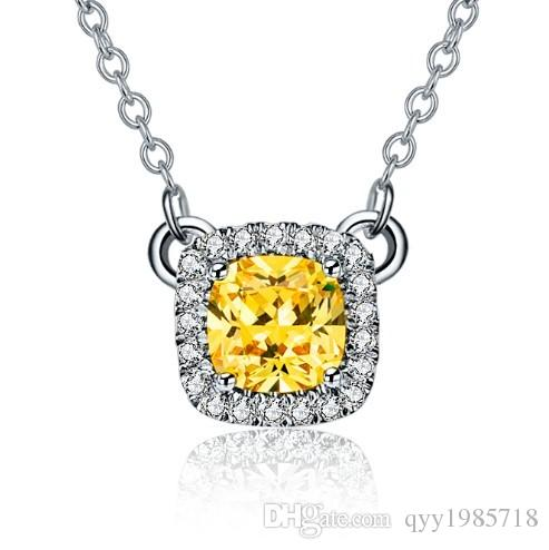 8c484cfb71e Wholesale Pure Sterling Silver Pendant Necklace 2Ct Yellow Cushion Cut Synthetic  Diamonds Jewelry Necklace 585 Gold Color Pendant For Girl Aquamarine ...
