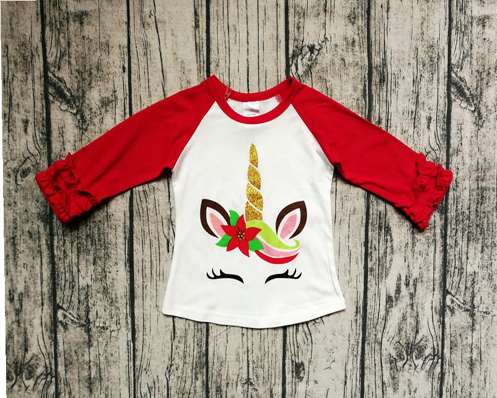 1259a680a 2019 Christmas Toddler Girls Top Red Ruffle Sleeves Girls T Shirt Unicorn  Letter Printed Shirt Baby Girls Winter Clothes From Babykidsboutique, ...