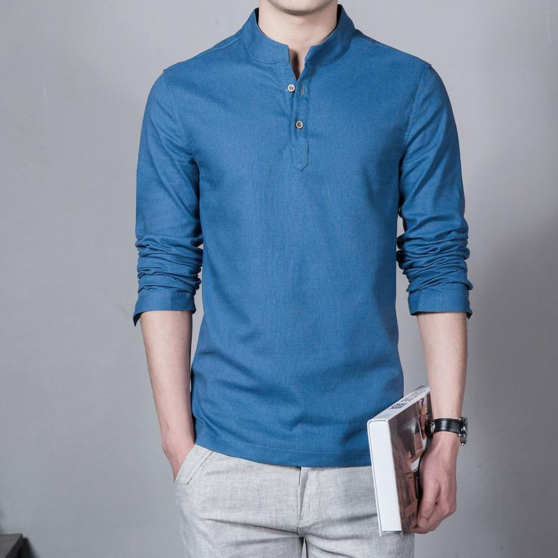 Full Plus Size 5xl Cotton Linen Men Shirt Casual Long -Sleeve Male Shirt Slim Fit Chemise Homme Camisa Masculina Linen