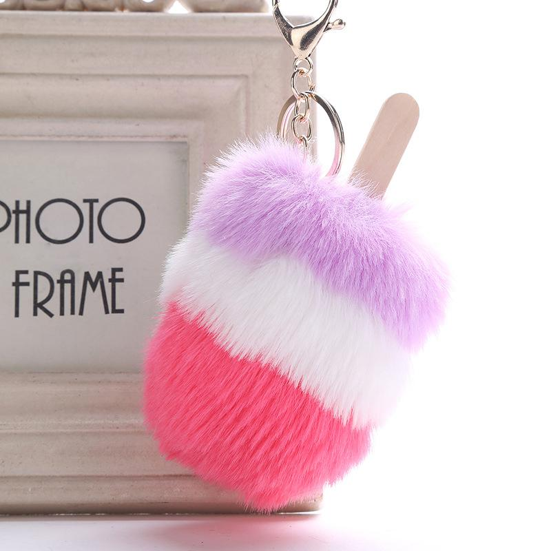 Multicolor Fur PomPom Cream Keychain Popsicle Key Chains Creative ... 8734a0198a