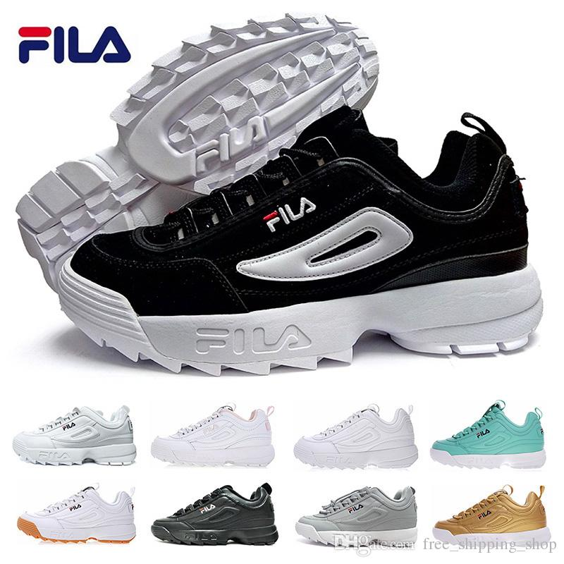 ae4bdff8054 Black White Fila Disruptors 2 Sawtooth Thick Bottom Mens Womens Fashion  Triple Black White Gold Grey Pink Training Shoes Eur 36 42 Boat Shoes For  Men Navy ...