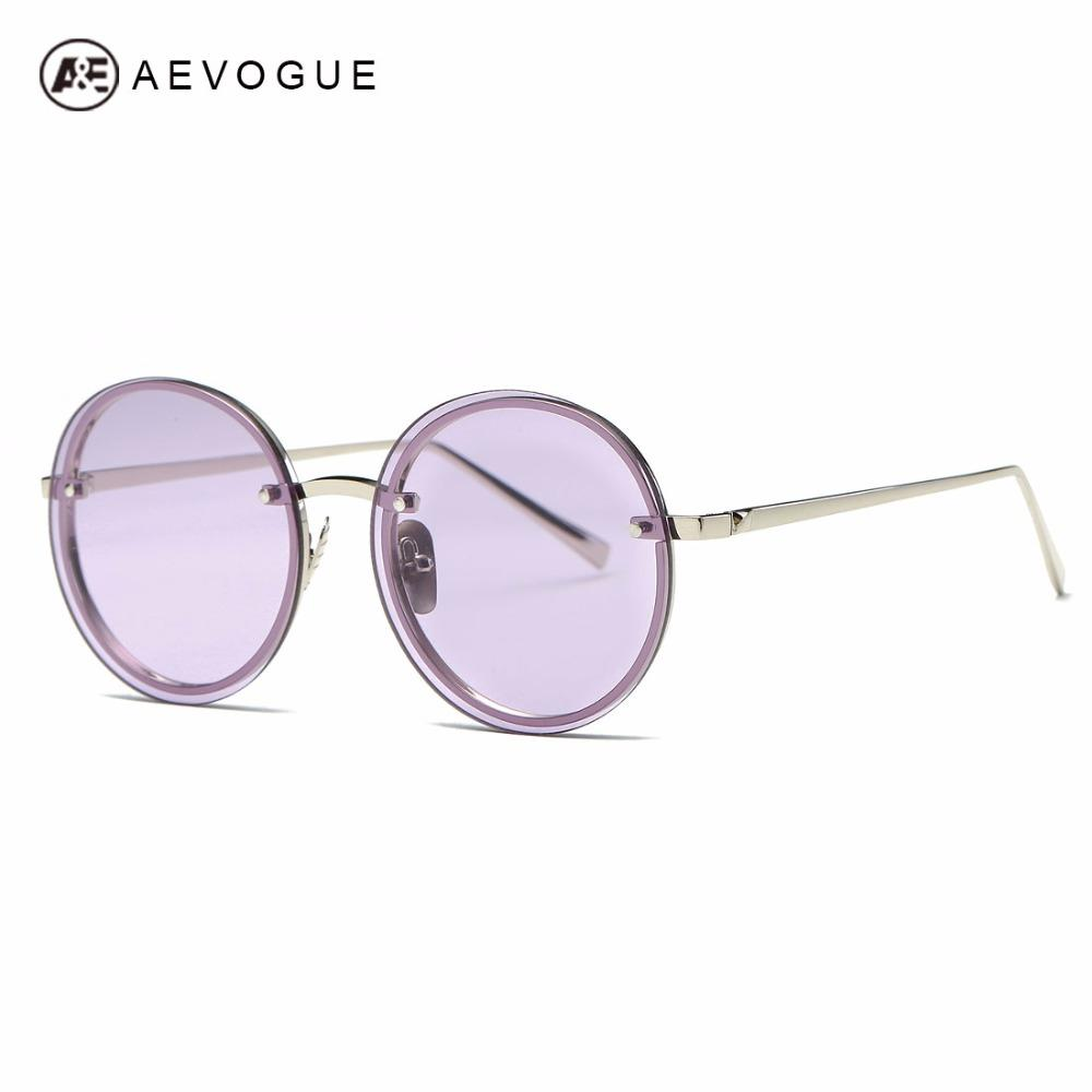 830f9d8f78 Compre AEVOGUE Gafas De Sol Mujeres Diseñador De La Marca Ronda Sin ...