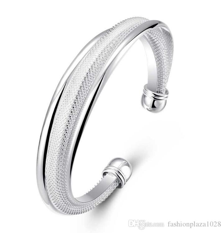925 Silver New Product Charm Handmade Shine Open Adjustable Bangles Antique 925 Silver Bracelets Bangles