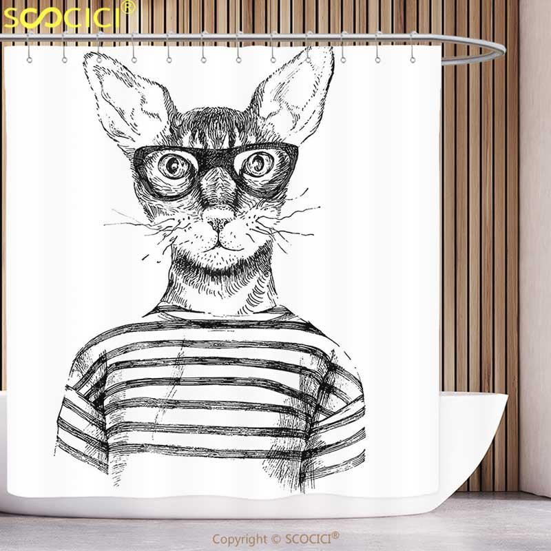 2019 Stylish Shower Curtain Cat Lover Decor Hand Drawn Dressed Up Trendy Hipster New Age Fashion Urban Free Spirit Artwork Black From Baibuju8