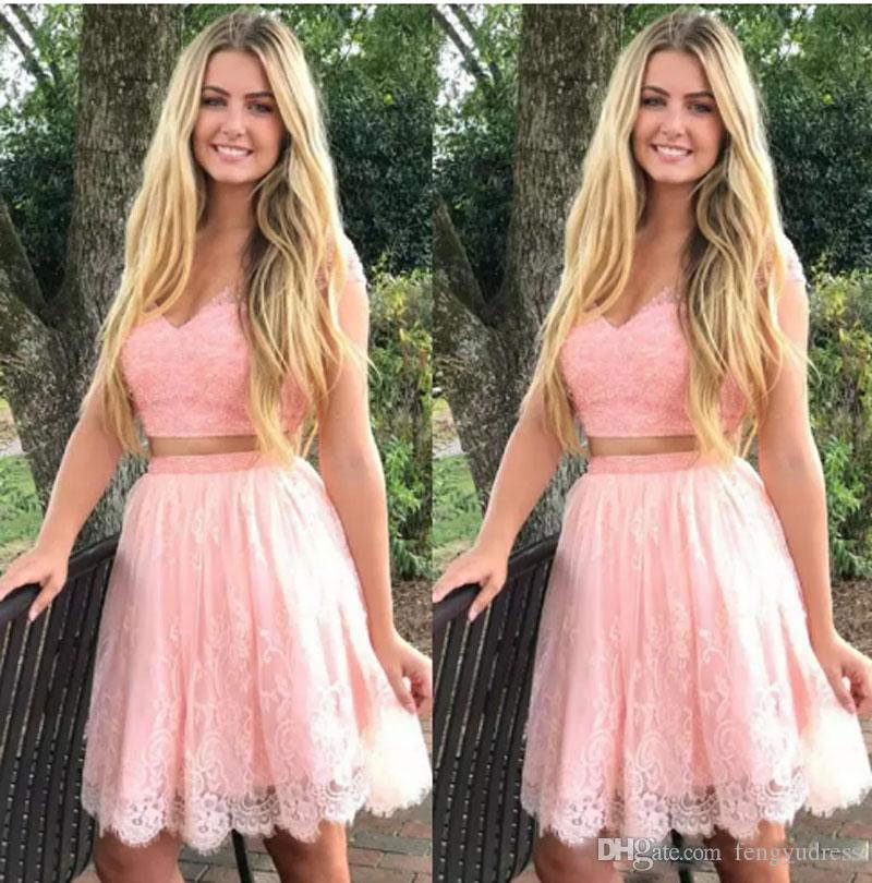 2018 New Design Short Homecoming Dresses Two Pieces Prom Gowns V-neck Special Occasion Formal Party Wears
