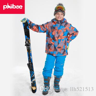 0d092820d 2019 2018 PHIBEE Kids Boys Winter Clothing Set Skiing Jacket Pant ...