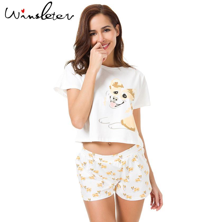 5252844b59d8 2019 Corgi Pajamas Women Cute Dog Print Crop Top + Shorts Set Cotton Pajamas  Loose Elastic Waist Lounge Pyjamas S61004 From Caesarl