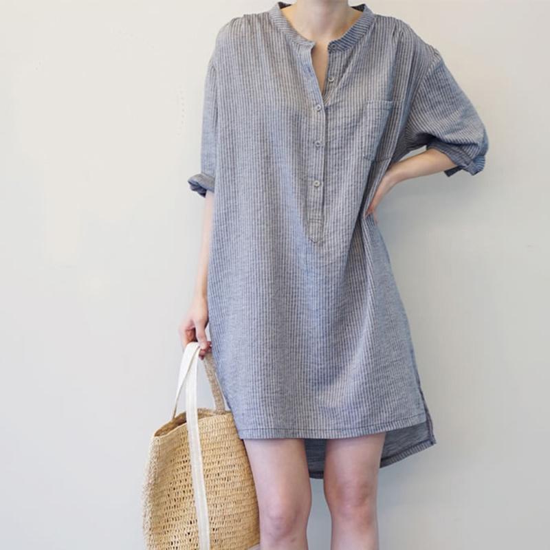 5195374d6b Compre Vestido De Rayas 2019 Vestidos Moda Para Mujer Algodón Lino Vestidos  De Otoño Bata Blusa Informal Vestido De Gran Tamaño A  63.36 Del Bibei08 ...