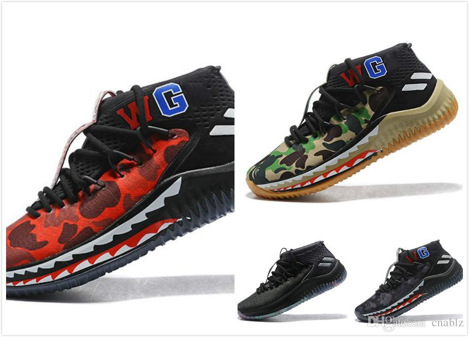 9314450b8573 Dame 4 Bap E Shark Camo CNY Men Basketball Shoes Sneakers Damian Lillard 4s  WGM Sport Green Grey Red Camouflage Mens Trainer 40 46 Sneakers Sale  Basketball ...