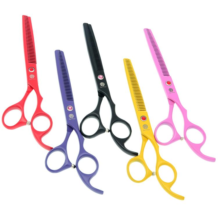 """Purple Dragon 6.5"""" Rainbow Dog Grooming Hairdressing Thinning Shears for Puppy Professional Human Hair Tesoura for Barbers Haircut LZS0649"""