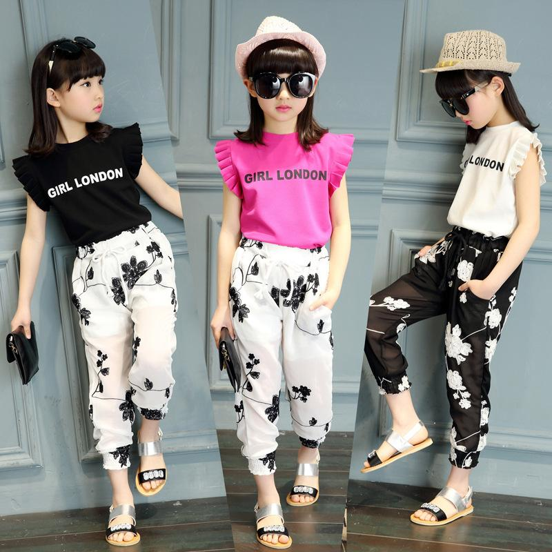 7c96b27e9ea2a Kids Girls Clothing Sets 2018 Cute Princess letter T-shirt and Jacquard  Chiffon pants Children Clothing Set Wear 5-14 Ages Y1892808