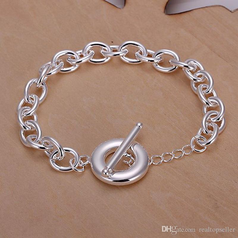 Fine 925 Sterling Silver Bracelet,XMAS New Style 925 Silver Chain round Bracelet For Women Men Fashion Jewelry n Link Italy Percing XH090
