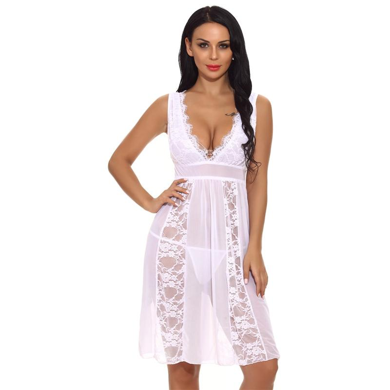 1efe4a8fd7 2019 Women Sexy Sleepwear Lace Nightgown Dress + String Set Sexy Underwear  Home Clothing Female Lingerie Nightdress Chemise Nuit XXL From Meicloth