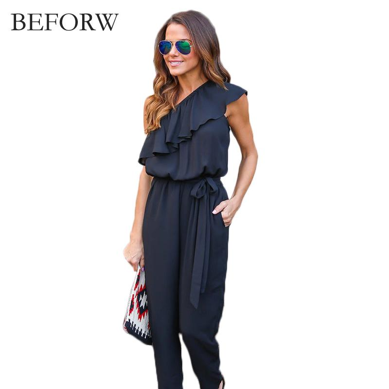 d1d1a0ae140 2019 BEFORW 2017 Women Black Chiffon Jumpsuit Fashion Women One Shoulder  Long Pants Summer Ruffles Casual Club Overalls Size S XL From Sacallion