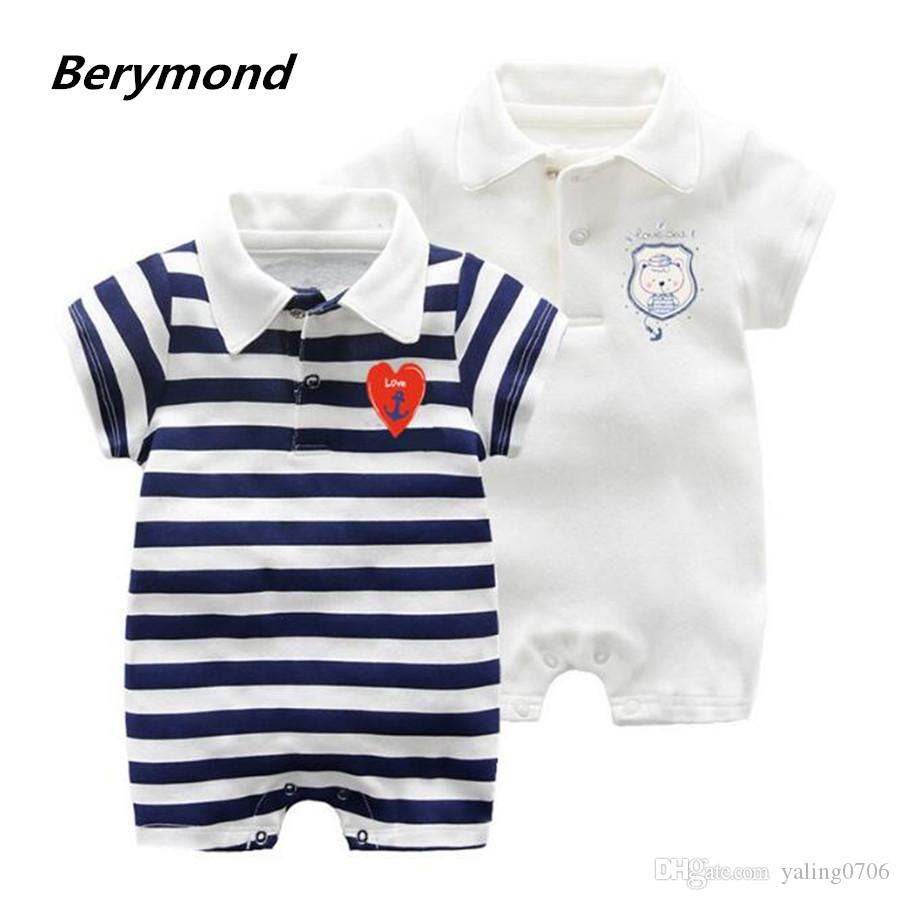 a1ae48d11 2019 Brand 2018 Summer Jumpsuit Infant Baby Lovely Rompers Cotton Polo Clothing  Baby Clothes Newborn Baby Girl Boys Babies Roupas Striped 0 18M From ...