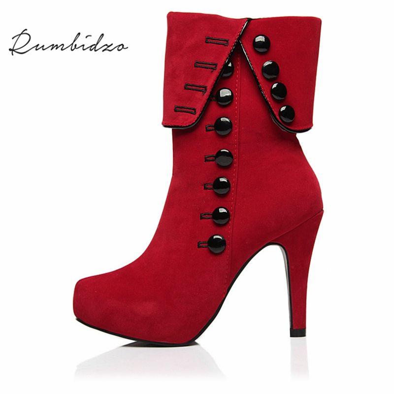 f65587152 Compre Rumbidzo Moda Mujeres Botas 2018 Tacones Altos Botines Plataforma  Marca Mujeres Zapatos Otoño Invierno Nieve Botas Femininos Felpa A  35.18  Del ...