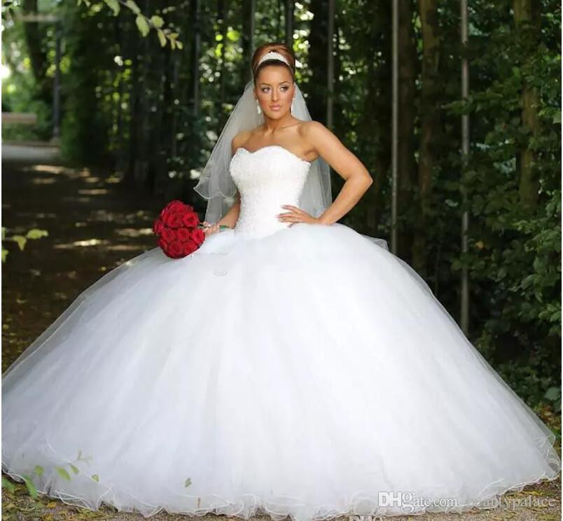 2018 New Ball Gown Luxury Wedding Dresses Crystal Sequins Beaded ...