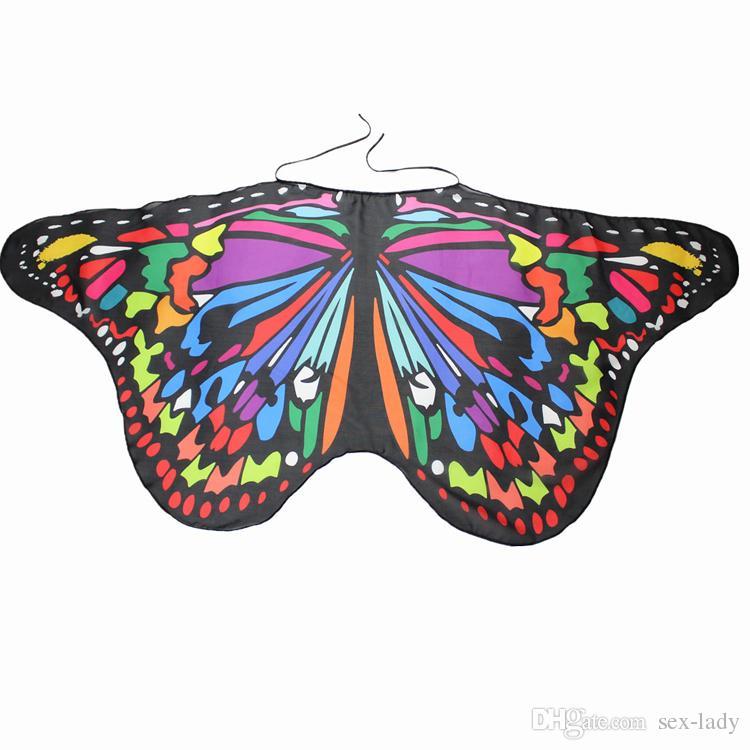 Bambini ragazza principessa mantello fata farfalla costume ali monarca chiffon bambini fantasia capo abito regalo Festival Pixie Cosplay sciarpa animale
