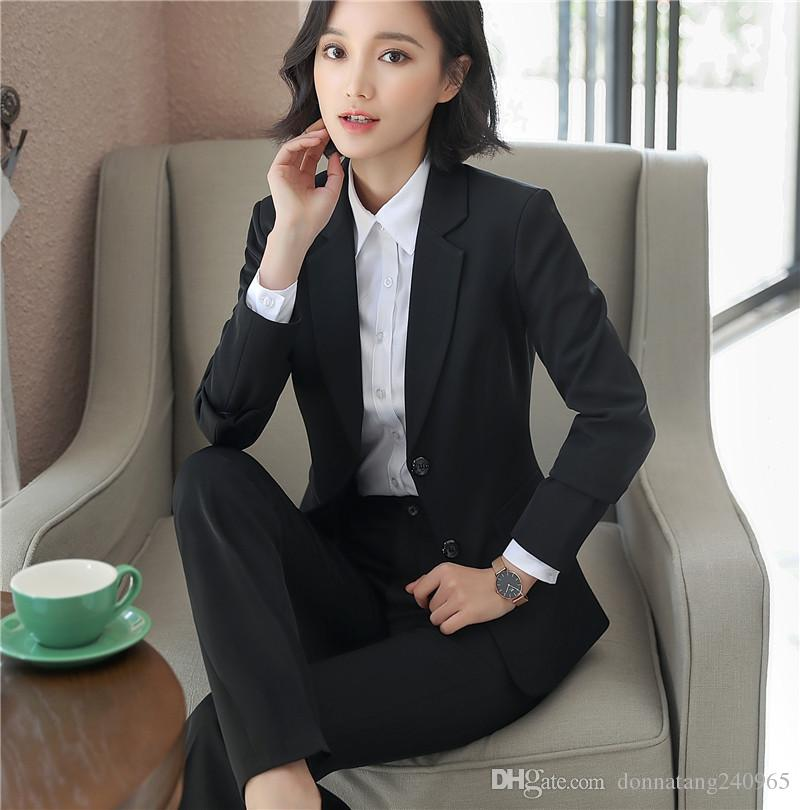 2fe673f0c0 2019 2018 Formal Ladies Office OL Uniform Designs Women Elegant Dark  Business Pant Suits Work Wear Jacket With Trousers Sets From  Donnatang240965
