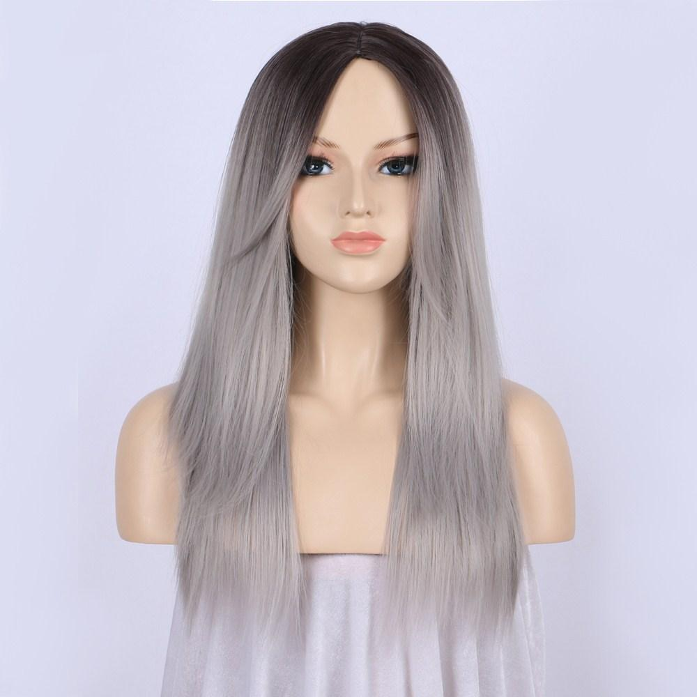 Ombre Wig Dark Roots to Silver Grey Wig Long Straight Synthetic Hair Lace Front Wigs for Women with Bangs Glueless Heat Resistant Fiber