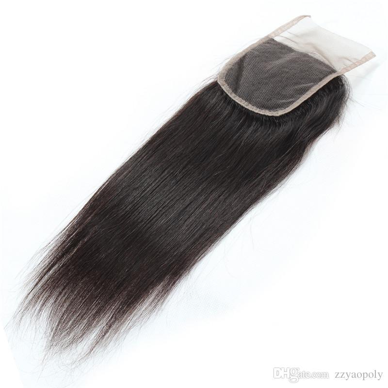 Kapatma Ile brezilyalı Düz Saç Demetleri Brezilyalı Bakire Saç Örgü Demetleri Insan Saç Paketler Kapatma Ile