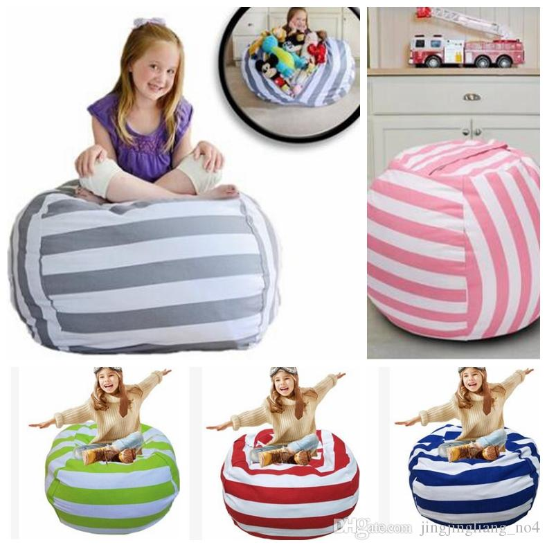 18 inch Storage Bean Bags Beanbag Chair Kids Bedroom Stuffed Animal Dolls Organizer Plush Toys Bags Baby Play Mat KKA4027