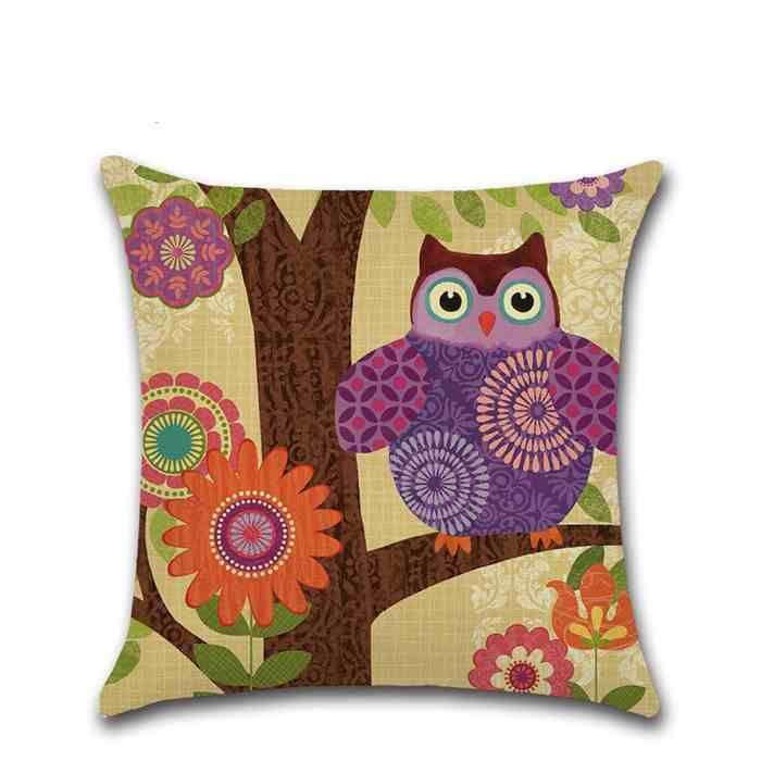 Colorful Owl Series Pillowcase Throw Linen Pillow Case Sofa Cushion Cover 45*45CM Home Cafe Office Decor Gift for Housewarming Party