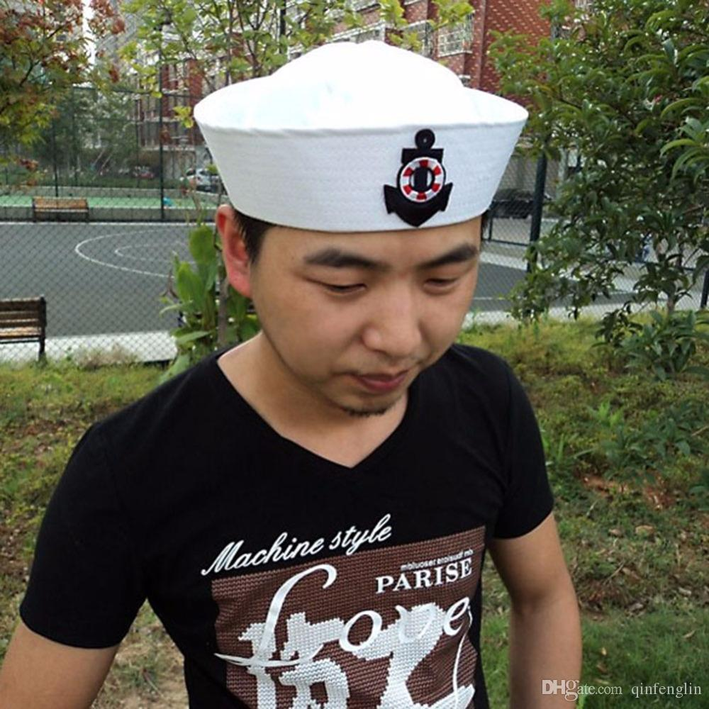 Military Hats Summer Caps Family White Flat Military Hat Costume Party Cosplay Perform Stage Navy Sailor Cap Embroidery Captain Stripe