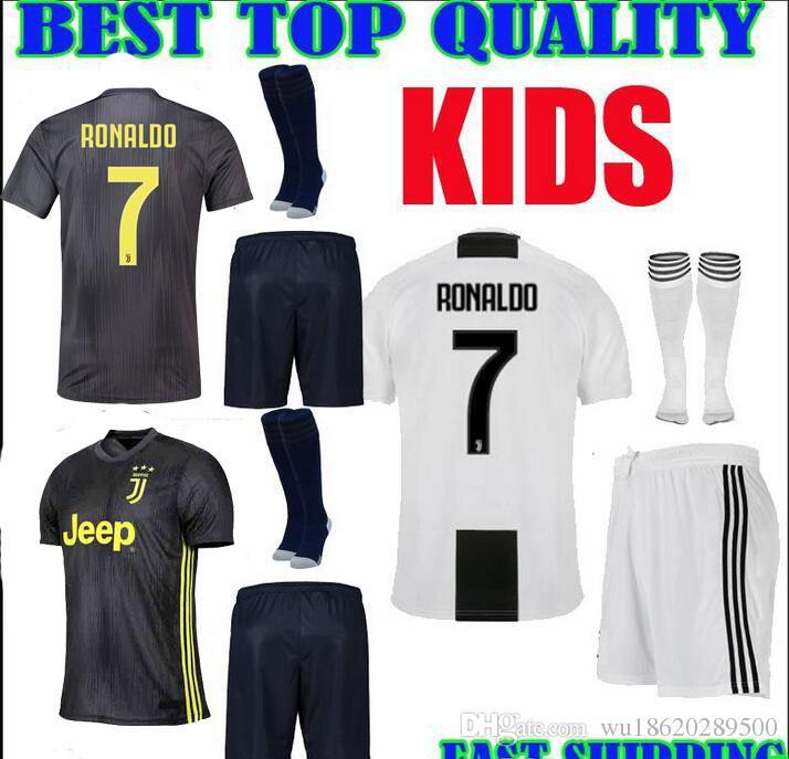 2019 18 19 JUVENTUS Home Third Kids Kit RONALDO Soccer Jerseys 2018 2019 JUVE  Home Third Jersey DYBALA MANDZUKIC BUFFON CR7 Child Soccer Jersey From ... 5c198574a