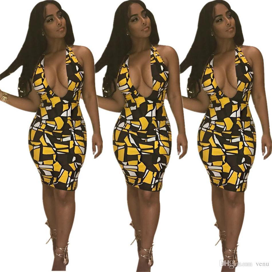 88ac9522c06 Womens Dress Sexy Colored Block Print V Neck Office Wear Working ...