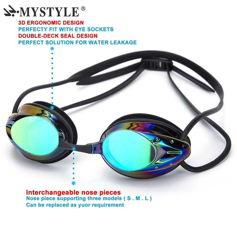 3d24cd9519850 Compre MYSTYLE QUENTE Das Mulheres Dos Homens De Natação Óculos De Proteção  À Prova D  Água Anti Fog UV Ajustável Competição Profissional Óculos Com  Caixa ...